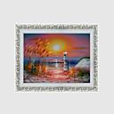 abordables Relojes de Pared Modernos y Contemporáneos-Pintura al óleo enmarcada Famoso Paisaje Floral/Botánico Arte de la pared, Conglomerado de densidad media Material con Marco Decoración