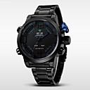 baratos Relógios Militares-WEIDE Homens Relógio de Pulso Alarme / Calendário / Cronógrafo Aço Inoxidável Banda Amuleto Preta / Impermeável / LED / Dois Fusos Horários