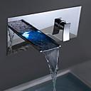 זול ברזים לחדר האמבטיה-ברז לאמבטיה חדר רחצה כיור ברז - מפל מים כרום מותקן על הקיר שני חורים שני חורי ידית אחת