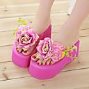 cheap Women's Slippers & Flip-Flops-Women's Shoes Fabric Spring / Summer / Fall Platform Satin Flower White / Red / Pink