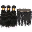 baratos Um pacote de cabelo-Cabelo Mongol Kinky Curly / Weave Curly Trama do cabelo com Encerramento Tramas de cabelo humano Preto Natural Extensões de cabelo humano