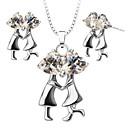 abordables Collares-Mujer Cristal Conjunto de joyas - Zirconio, Plateado Vintage, Moda Incluir Collar / pendientes Plata Para Boda / Fiesta / Diario / Pendientes / Collare