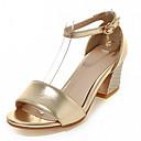 baratos Sandálias Femininas-Mulheres / Para Meninas Sapatos Courino Verão Salto Robusto Prata / Rosa claro / Dourado