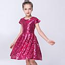 abordables Vestidos de Niña-Bebé Chica Un Color Manga Corta Vestido
