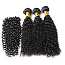cheap One Pack Hair-3pcs lot brazilian virgin hair 1b kinky curly hair with 1pcs lace closure human hair curly deep wave