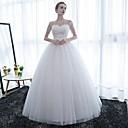 baratos Anéis-De Baile Ilusão Decote Longo Cetim Lace Over Tulle Vestidos de noiva personalizados com Renda de LAN TING Express