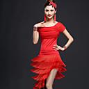 billige Dansetøj - latinamerikanske danse-Latin Dans Dragter Dame Ydeevne Nylon Kvast Kort Ærme Høj Top / Nederdel