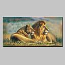 olcso Állatos festmények-Hang festett olajfestmény Kézzel festett - Állatok Klasszikus Modern Realizmus Vászon