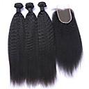 billige Hårfletter-4 pakker Mongolsk hår Rett Ubehandlet hår Hår Veft Med Lukker Hårvever med menneskehår Hairextensions med menneskehår