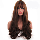 cheap Synthetic Capless Wigs-Synthetic Wig Women's Wavy Brown With Bangs Synthetic Hair Middle Part Brown Wig Long Capless Brown