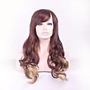billige Syntetiske parykker-Syntetiske parykker Krøllet / Dyb Bølge Assymetrisk frisure Syntetisk hår Natural Hairline Brun Paryk Dame Lang Lågløs Regnbue
