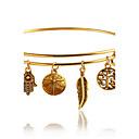 baratos Braceletes-Mulheres Bracelete - Formato de Folha Boêmio, Fashion, Boho Pulseiras Dourado Para Diário Casual