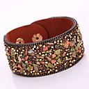 cheap Bracelets-Women's Wrap Bracelet / Leather Bracelet - Leather, Rhinestone Bohemian, Fashion, Boho Bracelet Red / Light Brown / Dark Brown For Christmas Gifts / Party / Daily