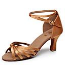 baratos Sapatos de Dança Latina-Mulheres Sapatos de Dança Latina Cetim / Courino Sandália Presilha Salto Personalizado Personalizável Sapatos de Dança Marrom / Dourado / Azul Real / Espetáculo / Couro