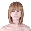halpa Kotelot, laukut ja hihnat-Synteettiset peruukit Suora / Kinky Straight Bob-leikkaus / Otsatukalla Synteettiset hiukset Luonnollinen hiusviiva Ruskea Peruukki Naisten Mid length Suojuksettomat