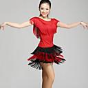 baratos Sapatos de Jazz-Dança Latina Roupa Mulheres Espetáculo Náilon Chinês Mocassim Manga Curta Natural Blusa / Saia