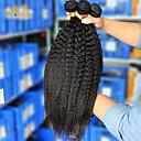 billige Hårvever med ekte hår-3 pakker Brasiliansk hår Rett Ekte hår Menneskehår Vevet Hårvever med menneskehår Hairextensions med menneskehår