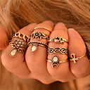 זול Fashion Ring-בגדי ריקוד נשים טבעות לפרקי האצבעות / טבעות הגדר - פיל, פרח, חיה מותאם אישית, וינטאג', בוהמי 6 כסף / מוזהב עבור חתונה / Party / מתנה