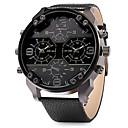 cheap Military Watches-Men's Quartz Japanese Quartz Military Watch Dual Time Zones Leather Band Cool Black
