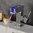 billige Spotlys med LED-Moderne Centersat LED Keramisk Ventil Enkelt Håndtak Et Hull Krom, Baderom Sink Tappekran