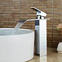 baratos Torneiras de Banheiro-Torneira pia do banheiro - Cascata Cromado Conjunto Central Monocomando e Uma AberturaBath Taps / Latão