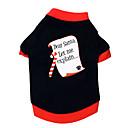tanie Święta Bożego Narodzenia-Kot Pies T-shirt Ubrania dla psów Litera i numer Czarny/Czerwony Bawełna Kostium Dla zwierząt domowych Męskie Damskie Święta Bożego