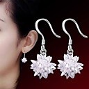 cheap Earrings-Women's Crystal Earrings - Sterling Silver, Silver Flower Punk, Fashion White For Wedding Party Daily