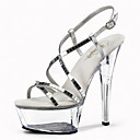 cheap Women's Sandals-Women's Shoes Glitter Spring / Summer Light Up Shoes / Club Shoes Heels / Sandals Stiletto Heel / Platform / Crystal Heel Sequin / Buckle