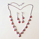 cheap Jewelry Sets-Women's Jewelry Set - Silver Plated Include Necklace / Earrings Red For Wedding / Party