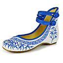 baratos Sapatilhas Femininas-Mulheres Sapatos Lona Primavera / Verão Conforto / MaryJane / Sapatos bordados Rasos Caminhada Sem Salto Presilha / Flor Vermelho / Verde