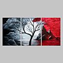 abordables Impresiones-Pintura al óleo pintada a colgar Pintada a mano - Abstracto Tradicional Pintura Sóla / Tres Paneles / Lienzo enrollado