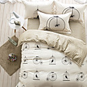 cheap Contemporary Duvet Covers-Duvet Cover Sets Floral 4 Piece Cotton Reactive Print Cotton 1pc Duvet Cover 2pcs Shams 1pc Flat Sheet