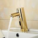 baratos Torneiras de Banheiro-Torneira pia do banheiro - Sensor Ti-PVD Conjunto Central Mãos livres Uma Abertura