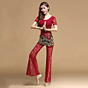 cheap Dance Accessories-Belly Dance Outfits Women's Training Lace Lace Short Sleeves Natural Top / Pants