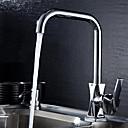 billige Kjøkkenkraner-Moderne standard Tut Vannrett Montering Roterbar Keramisk Ventil Enkelt Håndtak Et Hull Krom, Kjøkken Kran