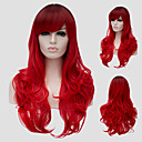 cheap Synthetic Capless Wigs-red wavy hair and the wind nightclub performances street color million with a partial wig