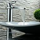billige Syntetiske parykker uden hætte-Moderne Art Deco/Retro Centersat Vandfald Udbredt Keramik Ventil Enkelt håndtag Et Hul Krom, Håndvasken vandhane