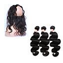 billige Neglebørster-4 pakker Brasiliansk hår 360 Frontal / Krop Bølge Ekte hår Hår Veft Med Lukker Hårvever med menneskehår Hairextensions med menneskehår