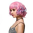 abordables Pelucas para Disfraz-Pelucas sintéticas Rosa Pelo sintético Rosa Peluca Mujer Corta Sin Tapa