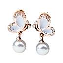 cheap Earrings-Women's Drop Earrings - Imitation Pearl, Rhinestone Butterfly Fashion White / Black For Wedding / Party / Daily