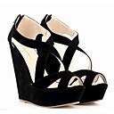 baratos Sandálias Femininas-Mulheres Sapatos Courino Verão Sandálias Salto Plataforma Ziper Verde / Azul / Amêndoa / Calcanhares