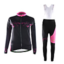 cheap Accessories For GoPro-TVSSS Women's Long Sleeve Cycling Jersey with Bib Tights Bike Clothing Suit, Breathable, 3D Pad, Thermal / Warm Polyester, Fleece, Lycra Patterned / High Elasticity