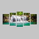 baratos Impressões-Estampado Laminado Impressão De Canvas - Paisagem / Botânico / Lazer 5 Painéis
