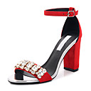 cheap Women's Sandals-Women's Shoes Fabric Summer Novelty Sandals Null Chunky Heel Open Toe Null Rhinestone / Buckle Black / Red / Green / Party & Evening