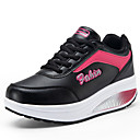 cheap Women's Athletic Shoes-Women's Shoes Leatherette Spring / Fall Sneakers Walking Shoes Wedge Heel / Creepers Lace-up Black / Gray