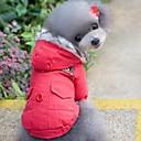 abordables Ropa para Perro-Gato Perro Abrigos Saco y Capucha Ropa para Perro Un Color Rojo Azul Algodón Disfraz Para mascotas Hombre Mujer Paravientos: Mantiene