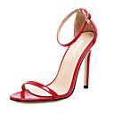 baratos Sandálias Femininas-Mulheres Sapatos Couro / PVC Primavera / Verão Conforto Sandálias Salto Agulha Dedo Aberto Presilha Preto / Vermelho / Amêndoa