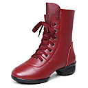 cheap Dance Sneakers-Women's Modern Shoes / Dance Boots Leather Boots / Split Sole Lace-up Low Heel Non Customizable Dance Shoes Black / Red