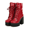 cheap Women's Boots-Women's Shoes Leatherette Fall / Winter Fashion Boots / Combat Boots Boots Chunky Heel / Platform / Block Heel Lace-up Brown / Red / Blue