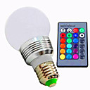abordables Bombillas LED-1pc 3 W 180 lm E26 / E27 Bombillas LED Inteligentes A60(A19) 1 Cuentas LED LED de Alta Potencia Regulable / Control Remoto / Decorativa RGB 85-265 V / 1 pieza / Cañas